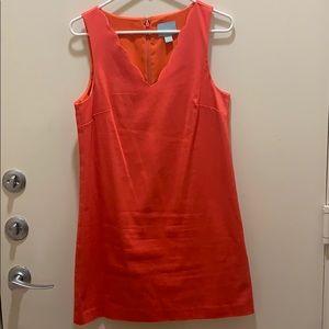 Bright pink scallop neck sleeveless dress